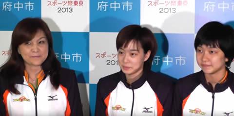 卓球女子日本代表・石川佳純選手と妹の石川梨良選手、石川久美(母親)