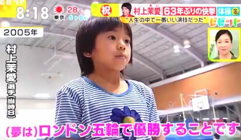 村上茉愛 8歳ごろの画像、池谷幸雄の指導